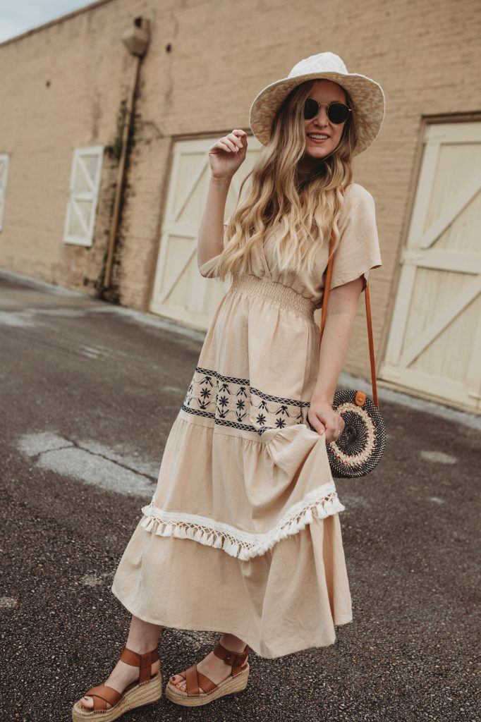 Shannon Jenkins of Upbeat Soles styles a summer boho outfit with Chicwish tassle dresses, espadrille platforms, and Ray Ban Icon sunglasses