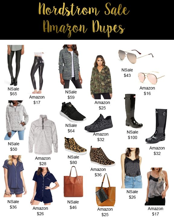 Shannon Jenkins of Upbeat Soles finds Nordstrom Anniversary sale looks for less and Amazon dupes like Hunter boots, Quay Sunglasses, and Spanx leggings