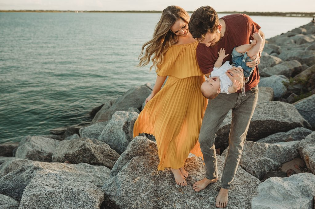 Shannon Jenkins of Upbeat Soles posts her family beach pictures with a baby and beach nursing pictures with Chicwish mustard maxi dress