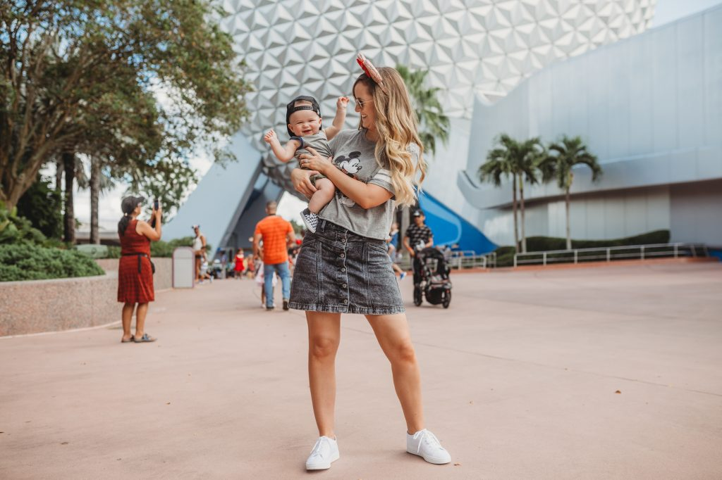 Shannon Jenkins of Upbeat Soles styles a cute mom and baby Disney outfit with Target tee, Abercrombie skirt, and Amazon Minnie ears