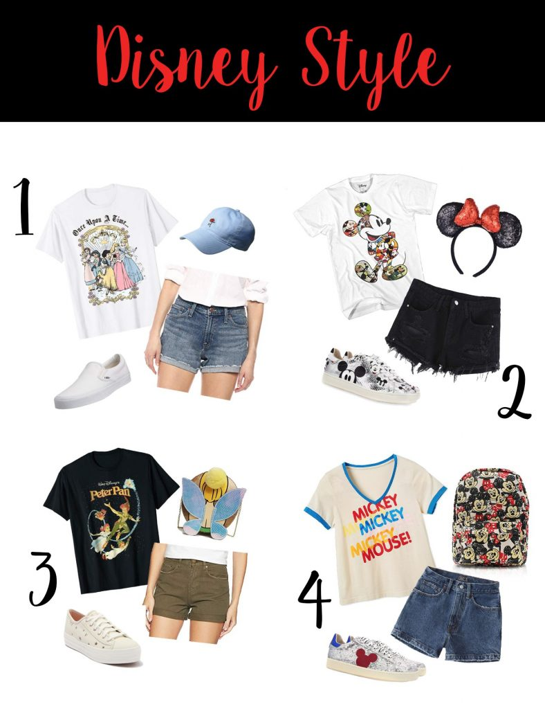 Shannon Jenkins of Upbeat Soles styles cute Disney womens outfits with vintage Mickey tees, high waisted denim shorts, and Mickey Mouse sneakers