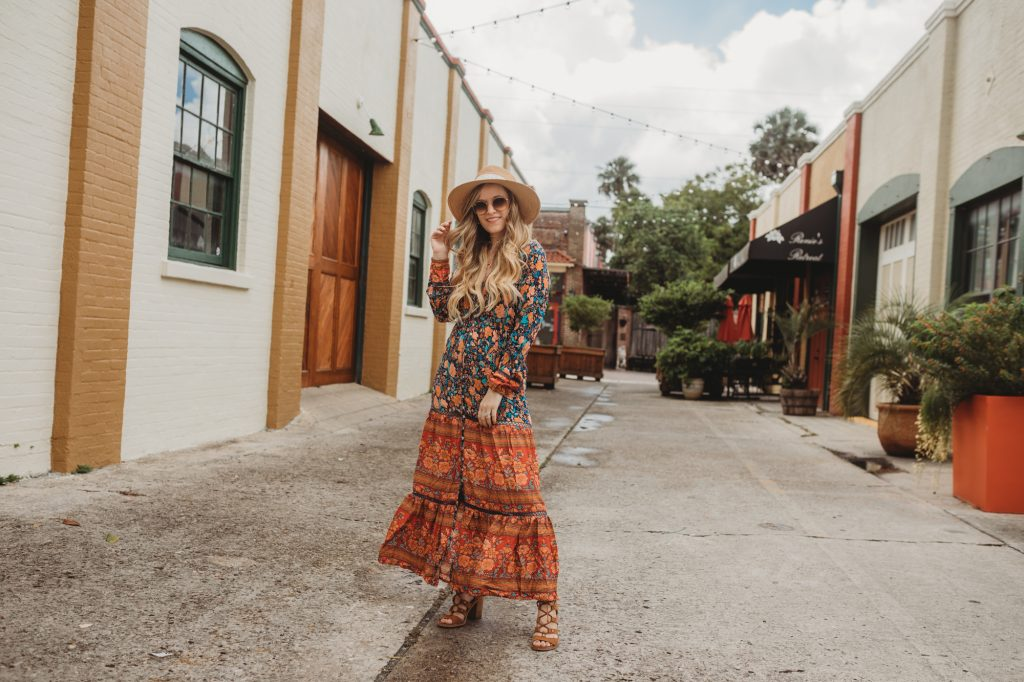 Shannon Jenkins of Upbeat Soles styles a fall maxi dress with a Chicwish long sleeve floral dress, lace up block heel sandals, and straw hat