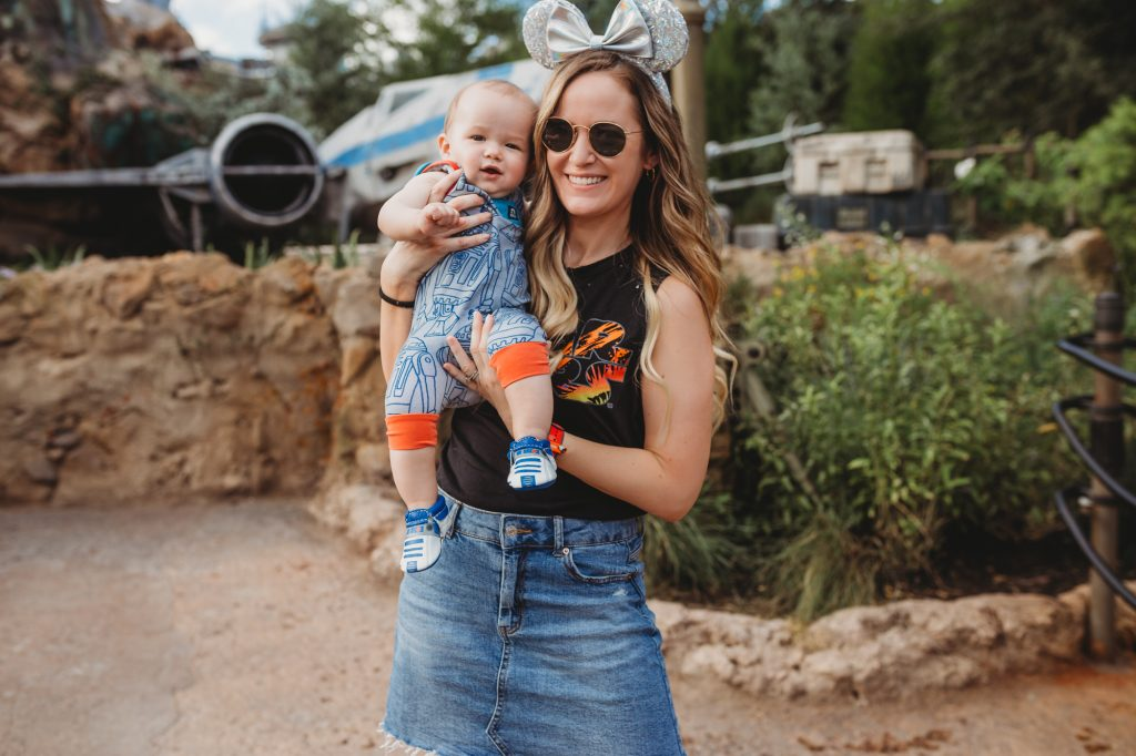 Shannon Jenkins of Upbeat Soles talks about Disney style, cute Disney Star Wars outfit for women and little boy with R2D2 Rag and Freshly Picked moccasins.