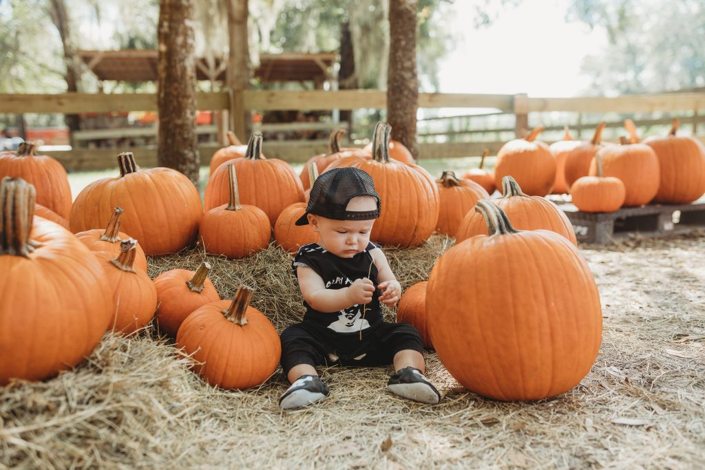 Shannon Jenkins styles a cute baby boy halloween outfit with Slay All Day Michael Myers romper and skeleton baby moccasins