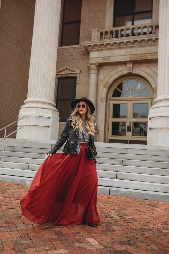 Shannon Jenkins of Upbeat Soles styles an edgy fall outfit with Blank NYC leather jacket, Chicwish maxi skirt, and black ankle booties