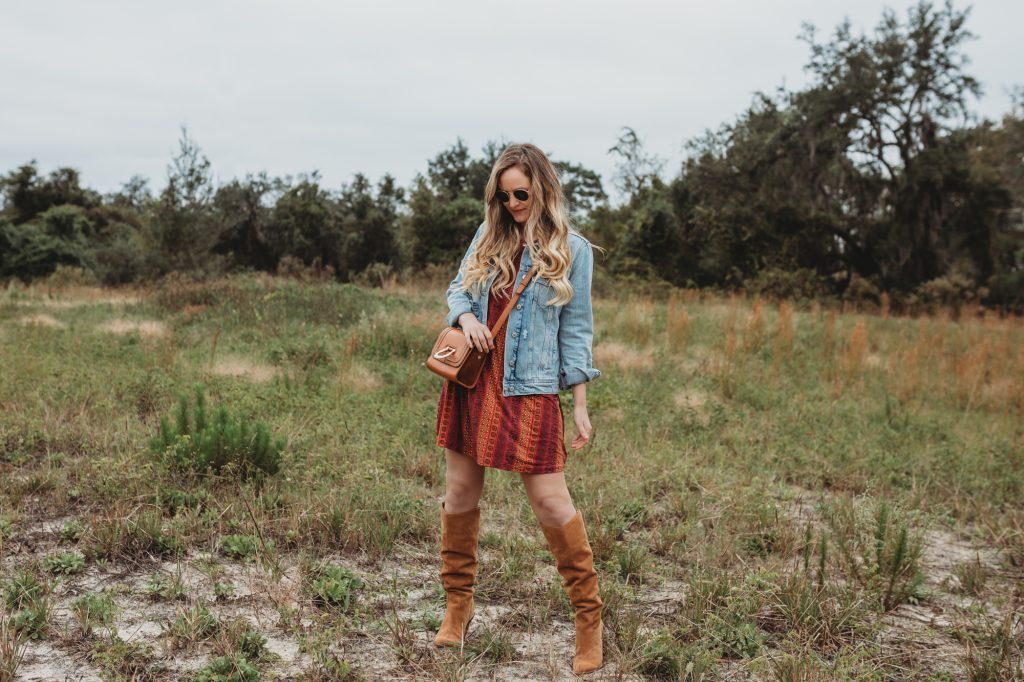 Shannon Jenkins of Upbeat Soles styles a boho winter outfit with BCBGeneration dress, Old Navy denim jacket, and Sam Edelman suede boots