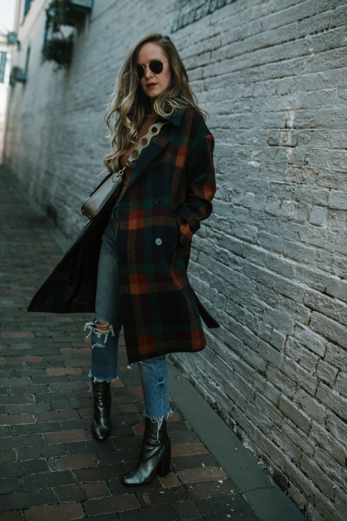 Shannon Jenkins of Upbeat Soles shows thanksgiving outfit inspration with Chicwish plaid coat, Free People wrap top, and animal print booties