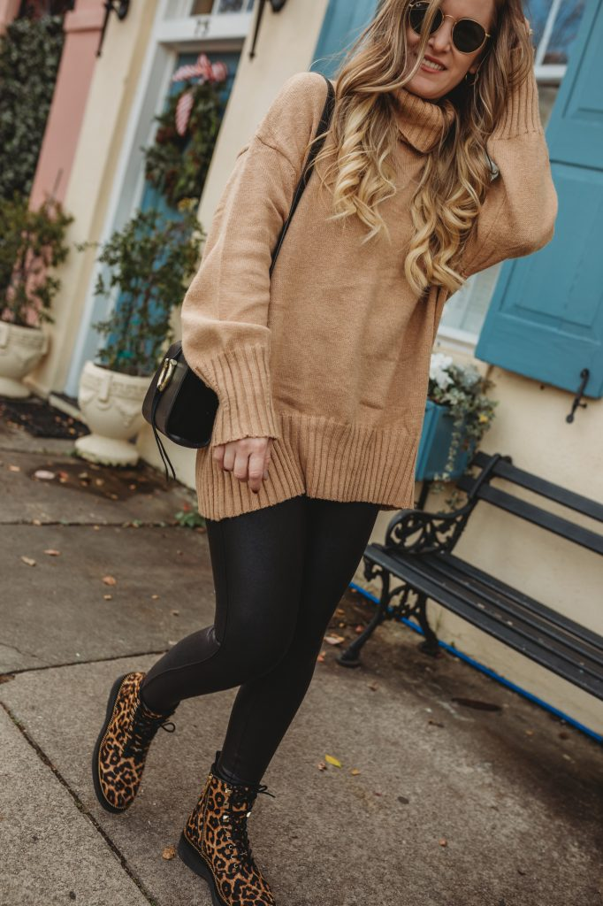 Shannon Jenkins of Upbeat Soles styles a spanx leggings outfit with oversized turtleneck sweater, and Michael Kors leopard combat boots