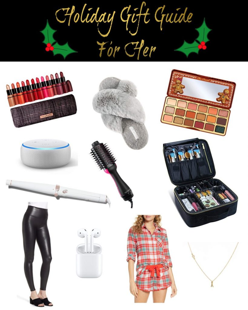 Shannon Jenkins of Upbeat Soles does a holiday gift guide for her 2019 with leather Spanx leggings, Revlon hair dryer, Apple Airpods, and T3 curling iron