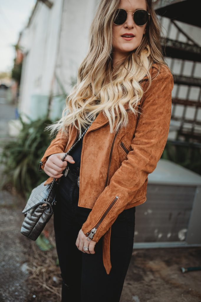 Shannon Jenkins of Upbeat Soles styles an edgy winter outfit with Amazon suede jacket, Abercrombie black distressed jeans and snakeskin booties