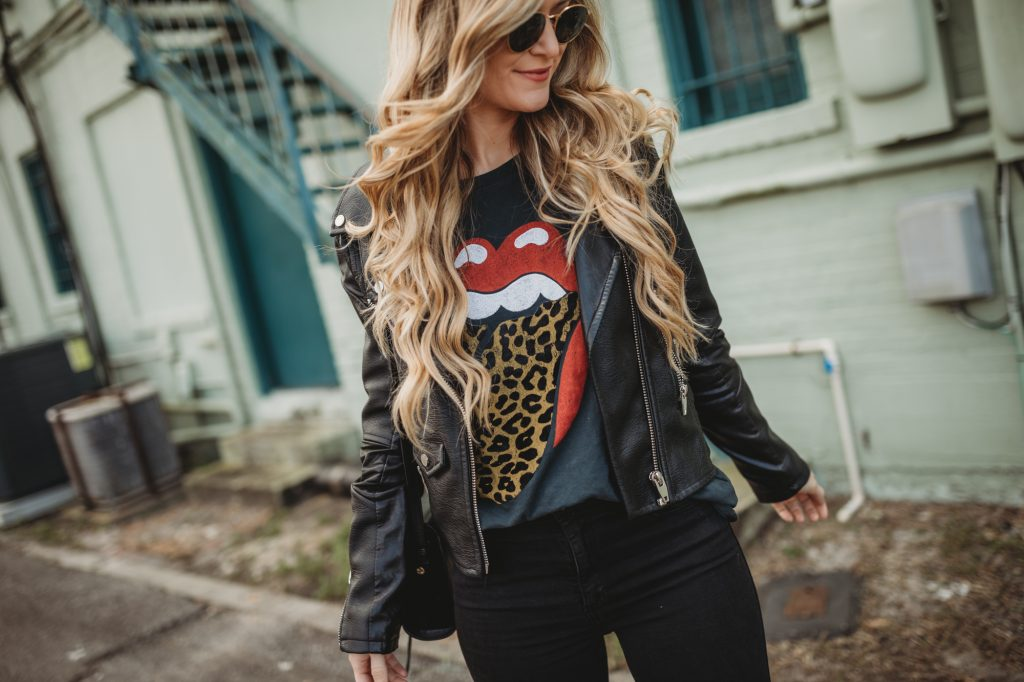 Shannon Jenkins of Upbeat Soles styles a rock and rocll concert outfit with Rolling Stones leopard tongue tee, Blank NYC leather jacket, and studded booties