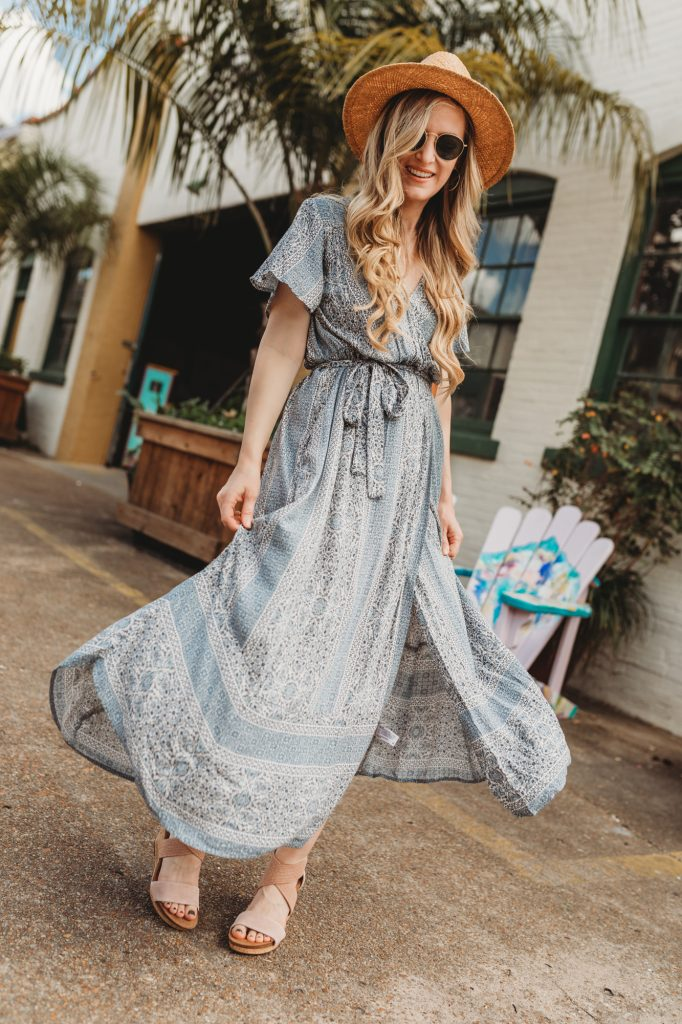 Shannon Jenkins of Upbeat Soles styles a spring boho maxi dress from Target with Sofft Shoes wedges, Sancia purse, and round Ray Ban sunglasses
