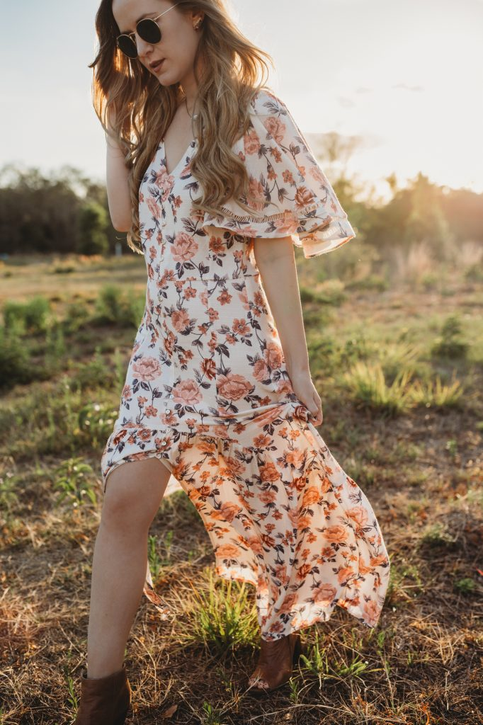 Shannon Jenkins of Upbeat Soles shows Easter dress inspiration with floral maxi dresses and pastel dresses