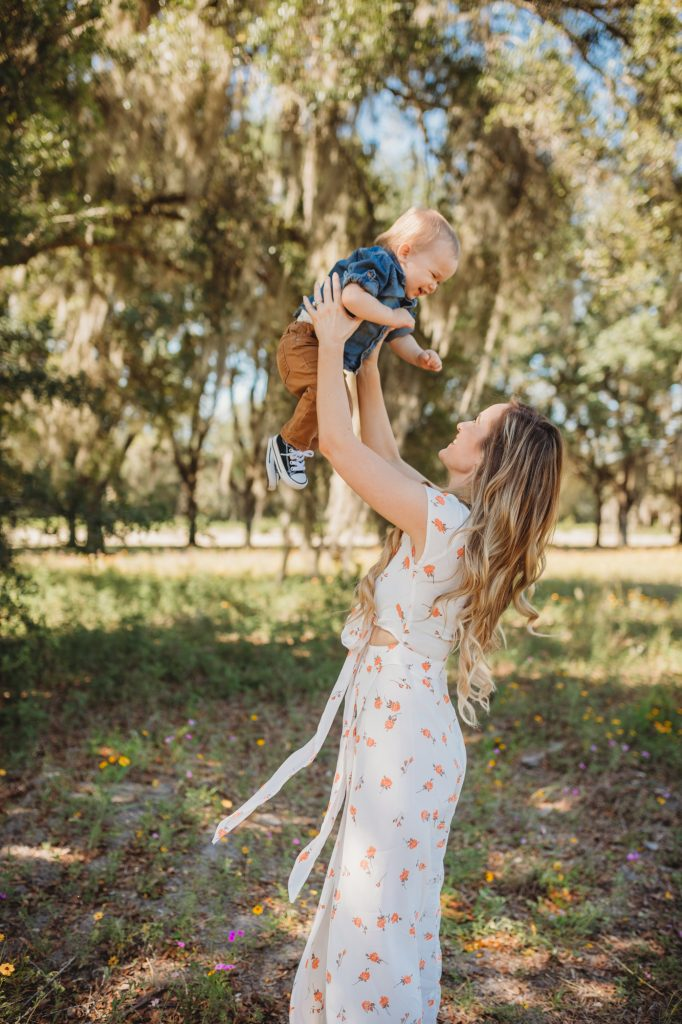 Shannon Jenkins of Upbeat Soles does a cute mommy and me photoshoot with her baby boy wearing a floral maxi dress and a little boy chambray shirt