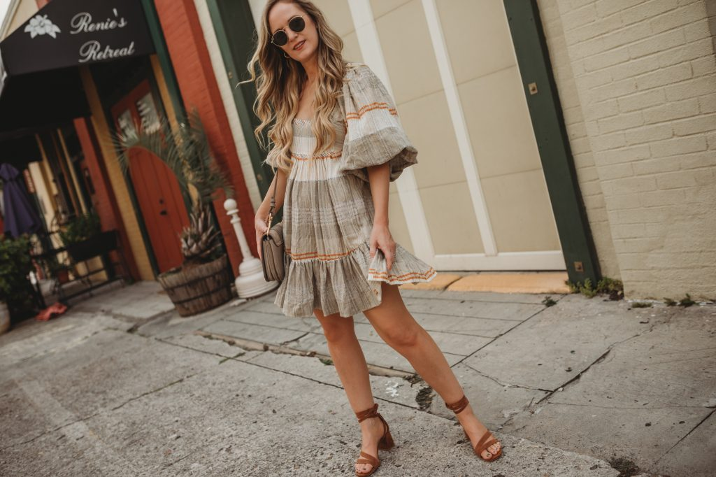 Shannon Jenkins of Upbeat Soles styles a cute summer boho outfit with Free People dress from Shopbop, suede lace up sandals, and See by Chloe crossbody