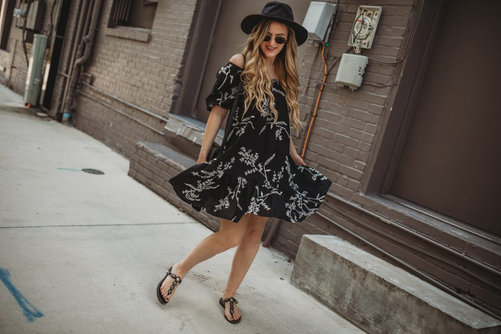 Shannon Jenkins of Upbeat Soles styles a cute boho outfit with summer dress, Ash sandals, Ray Ban Icon sunglasses, and black fedora
