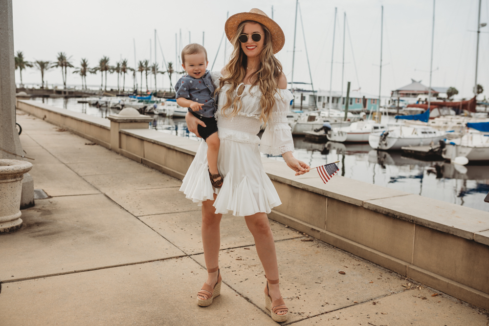 Shannon Jenkins of Upbeat Soles styles mommy and me 4th of July outfits with Chicwish summer set, Old Navy little boy shirt, and little boy Birkenstocks