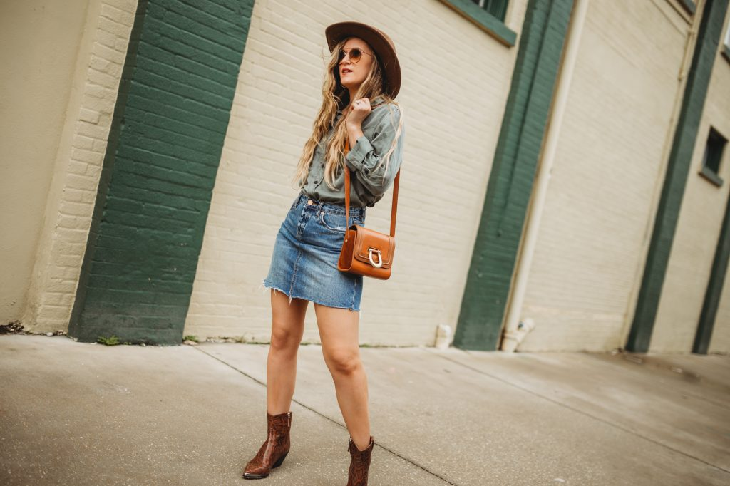 Shannon Jenkins of Upbeat Soles styles a cute fall transition outfit with Target olive button down, Blank NYC skirt, and snakeskin booties