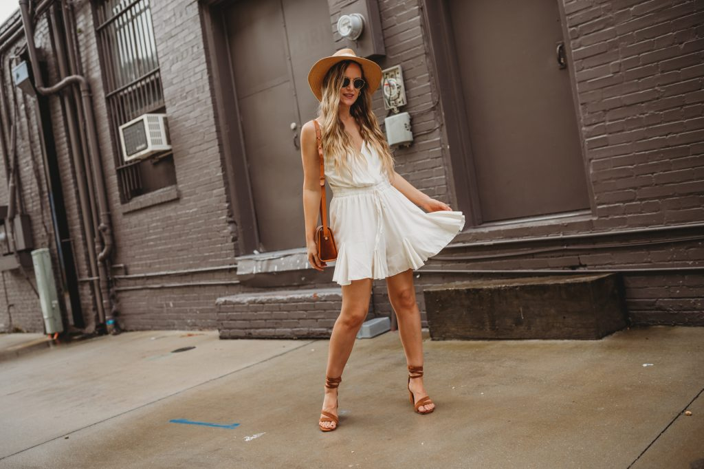 Shannon Jenkins of Upbeat Soles talks shows how to style a romper with a flowy romper from Chicwish with lace up suede sandals