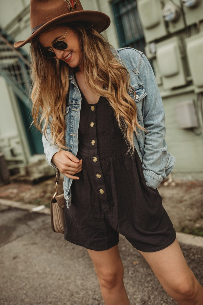 Shannon Jenkins of Upbeat Soles styles a laid back fall outfit with Target romper, Bussola boots, Old Navy denim jacket and Chloe bag