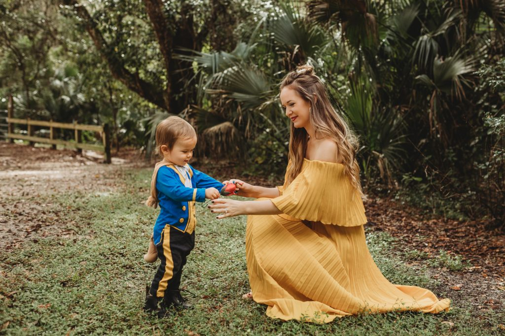 Shannon Jenkins of Upbeat Soles doe a last minute DIY Beauty and the Beast costume with toddler beast costume and yellow maxi dress