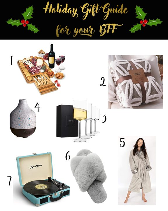 Shannon Jenkins of Upbeat Soles does a holiday guift guide for friends or BFF with cute wine glasses, cozy slippers and fur robe