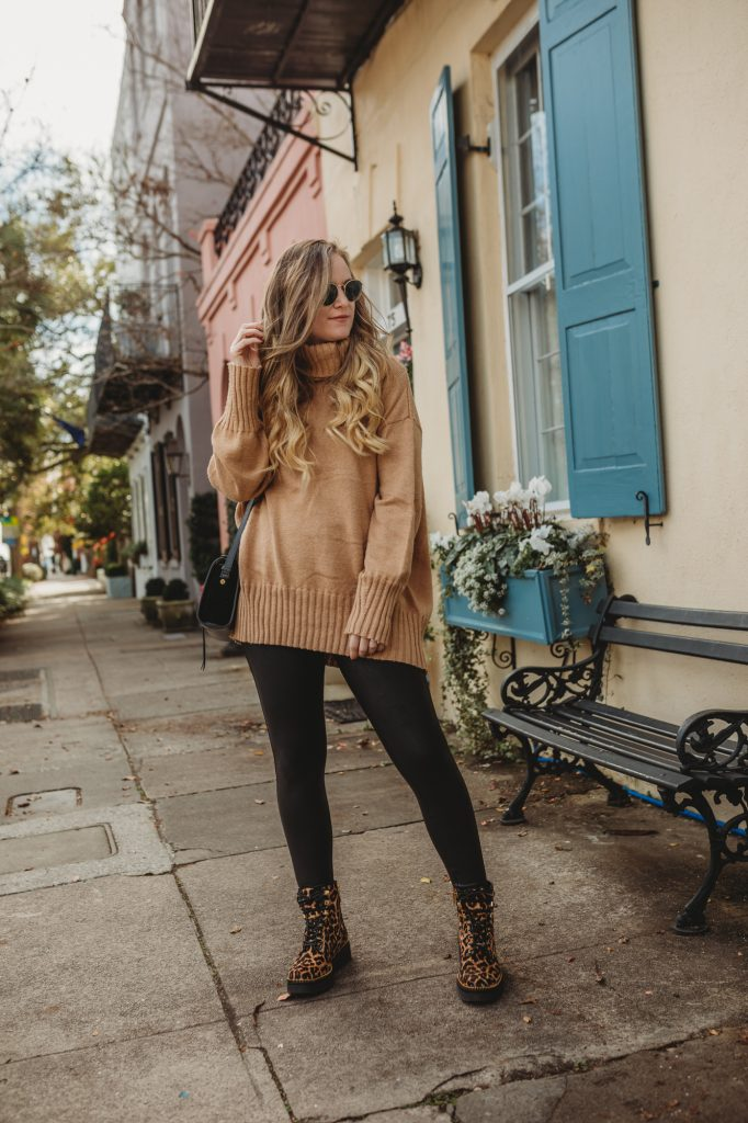 Shannon Jenkins of Upbeat Soles shows Thanksgiving outfit ideas for 2020 with Spanx leggings, leopard combat boots, and Levi's jeans