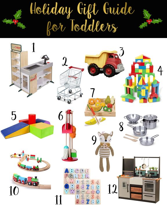 Shannon Jenkins does a toddler holiday gift guide 2020 with Melissa and Doug toys, climbing toys, play kitchen, and wooden trains