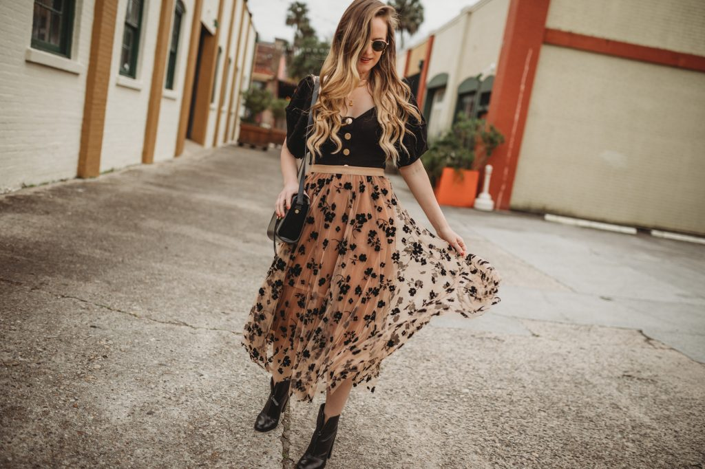 Shannon Jenkins of Upbeat Soles styles a winter date night outfit with Chicwish dark floral maxi skirt, Free People bodysuit, and black boots