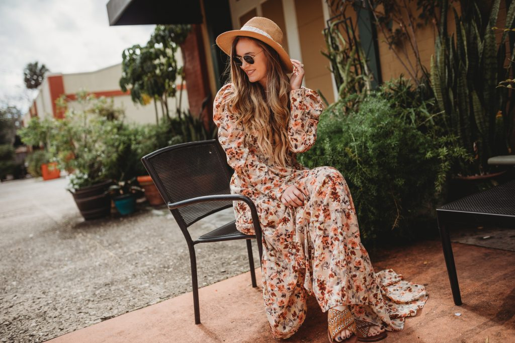 Shannon Jenkins of Upbeat Soles styles a boho spring outfit with Chicwish floral maxi dress, straw fedora hat, and studded sandals