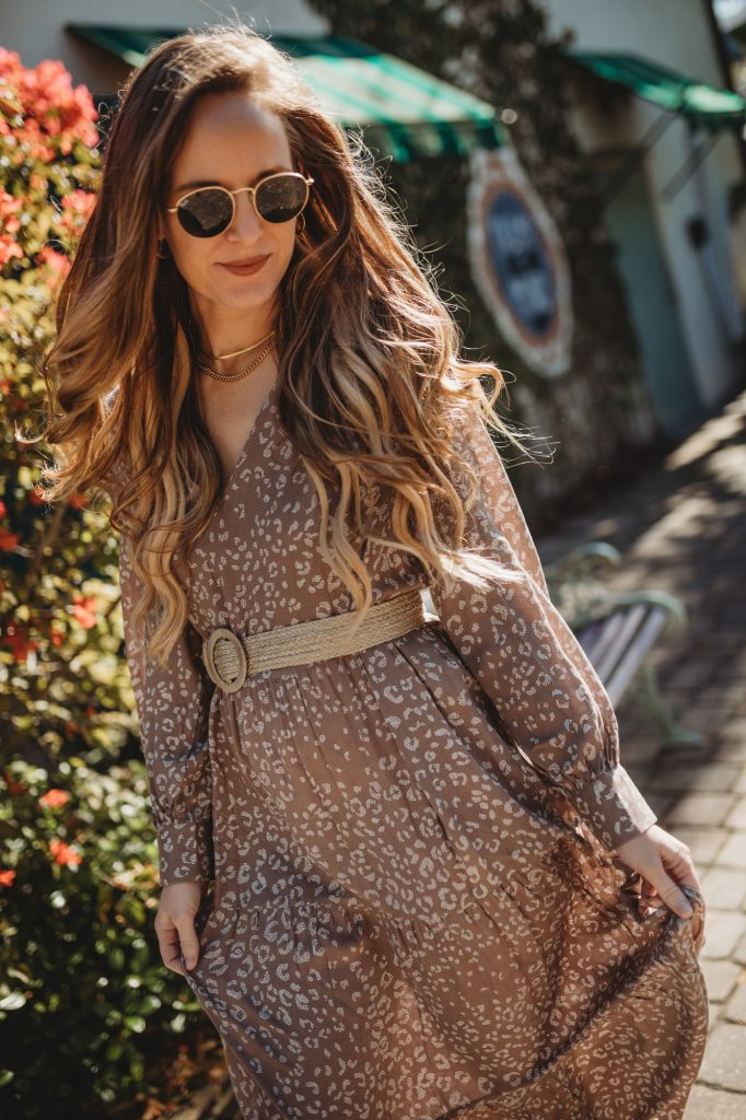 Shannon Jenkins of Upbeat Soles styles a boho spring transition outfit with leopard Target Maxi dress and Sam Edelman booties