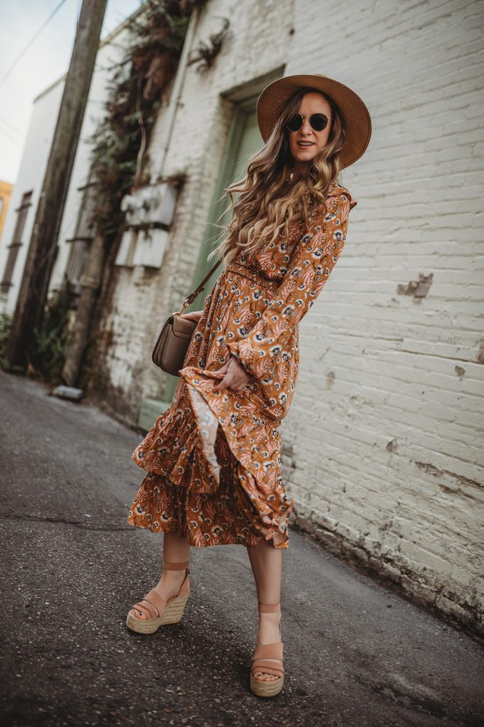 Shannon Jenkins of Upbeat Soles styles a spring floral mustard maxi dress from Target with espadrille wedges and See by Chloe bag