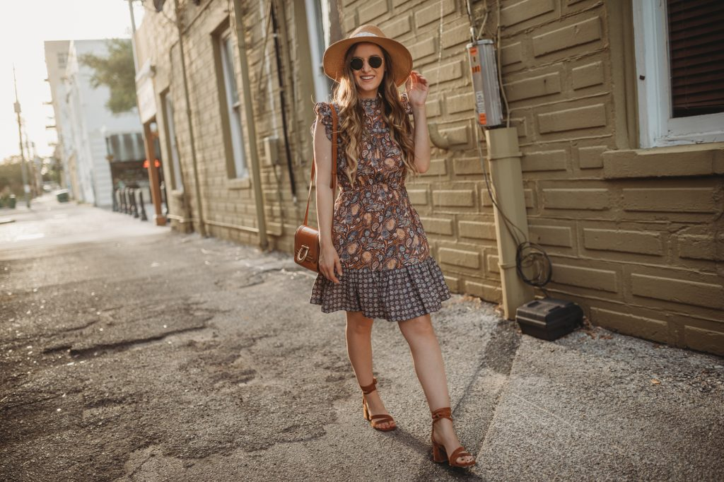 Shannon Jenkins of Upbeat Soles styles a cute spring dress from Target with paisley print, lace up block heels, and round Ray Bans