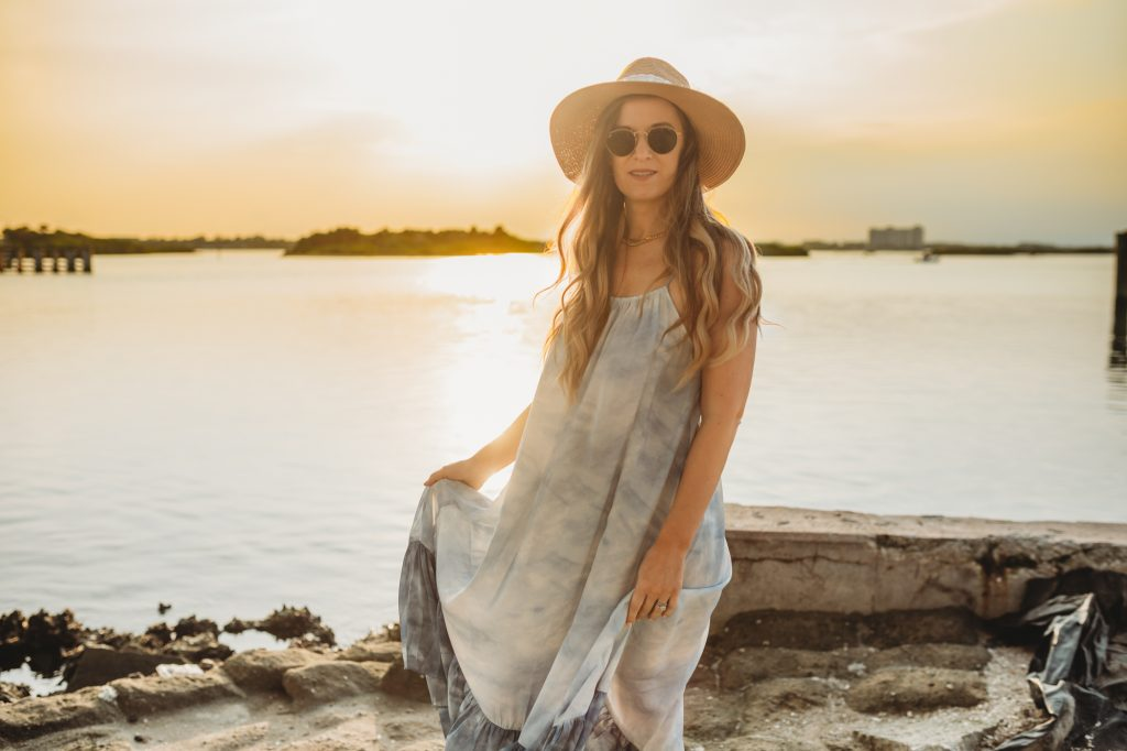 Shannon Jenkins of Upbeat Soles styles a summer maxi dress outfit with water color Free People maxi dress and metallic espadrille sandals