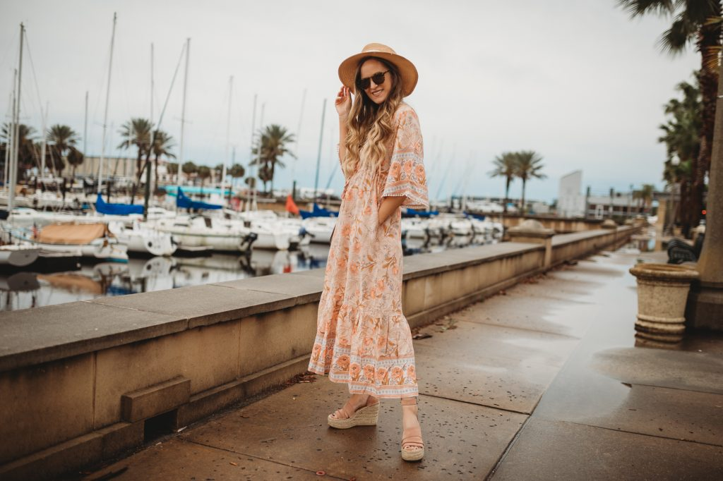 Shannon Jenkins of Upbeat Soles styles a spring maxi dress from Chicwish, espadrille wedges, and See by Chloe bag