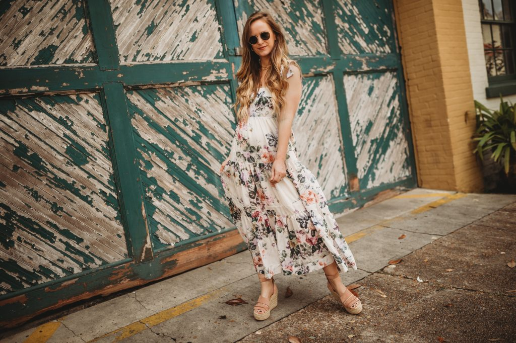 Shannon Jenkins of Upbeat Soles styles a spring and summer floral maxi dress from Chicwish with espadrille wedges and See by Chloe bag