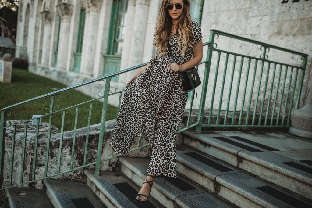 Shannon Jenkins of Upbeat Soles styles a H&M leopard maxi dress that can be maternity with lace up black heels and Sancia bag